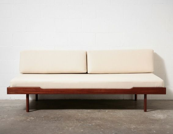 MidCentury Modern Daybed with Mattress and Bolster Cushions