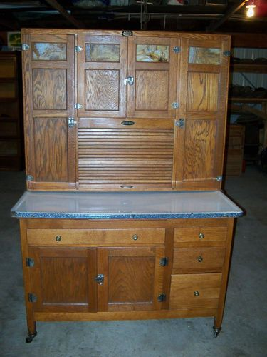 "antique oak sellers 48"" hoosier cabinet refinished and restored"