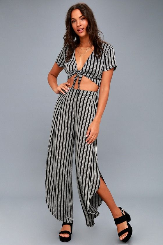 c3fc4d8450a Grey and Black Striped Two-Piece Jumpsuit for women