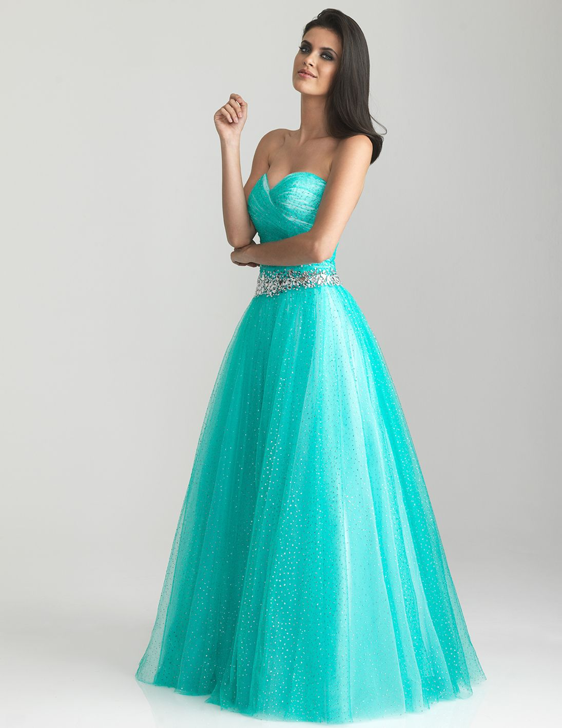 Aqua gathered shimmer tulle sweetheart prom gown unique vintage