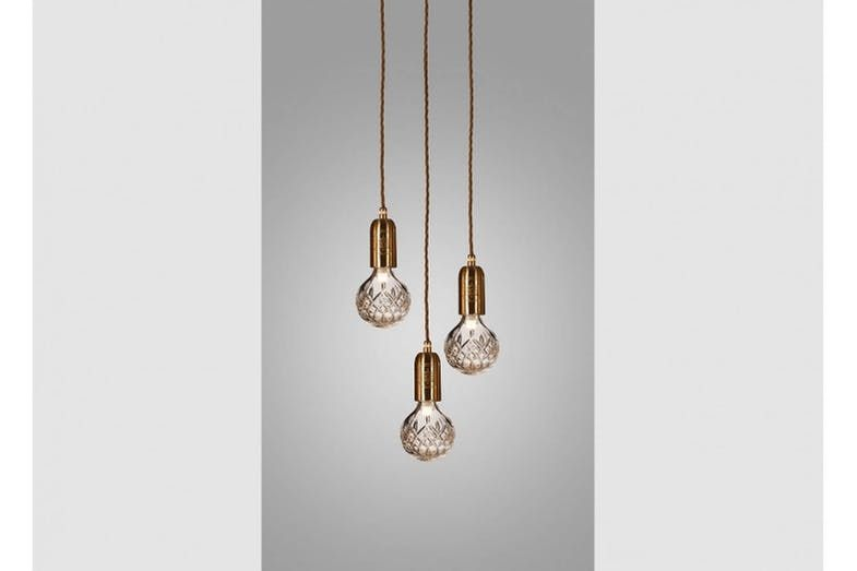 Clear Crystal Bulb Chandelier 3 Piece Brushed Brass Bulb Clear Crystal Chandelier