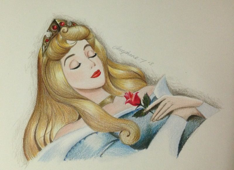 Coloured Drawing of Aurora - Sleeping Beauty using ...