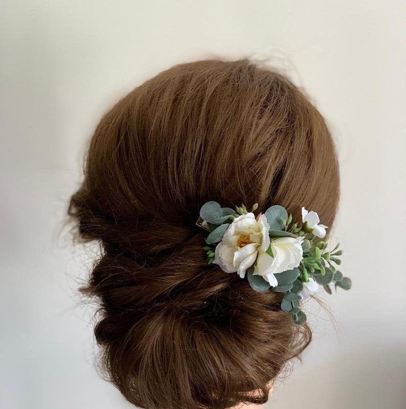 Flower hair pins Wedding hair pieces Bridesmaids for hair Bridal hair flower comb Flower hair clip White floral for hair