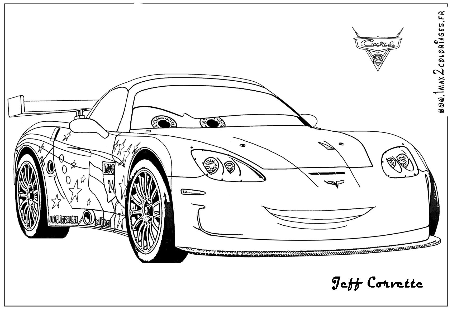 Cars 2 Jeff Corvette Coloring Page Coloring pages, Cars