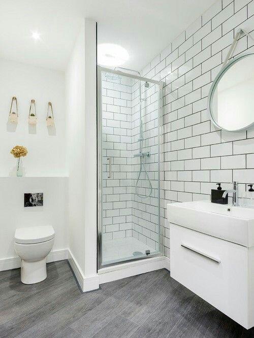 Baldosas metro espejo redondo blanco y gris 100 - Espejo nordico ...
