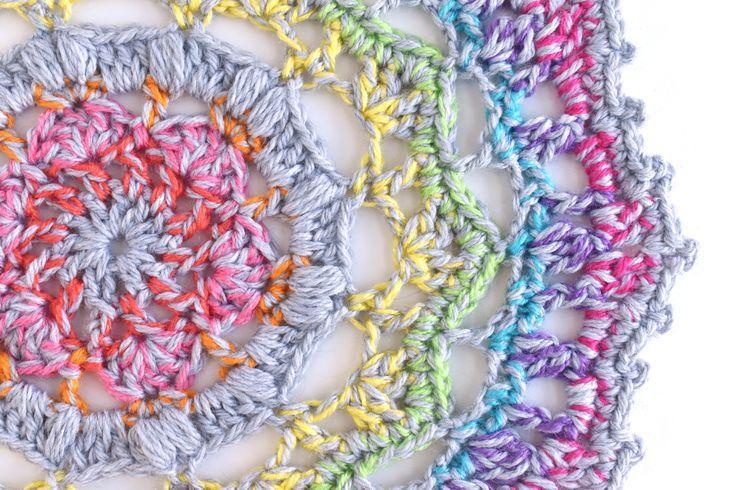 Create a Rainbow Mandala With This Free Crochet Pattern #crochetmandalapattern