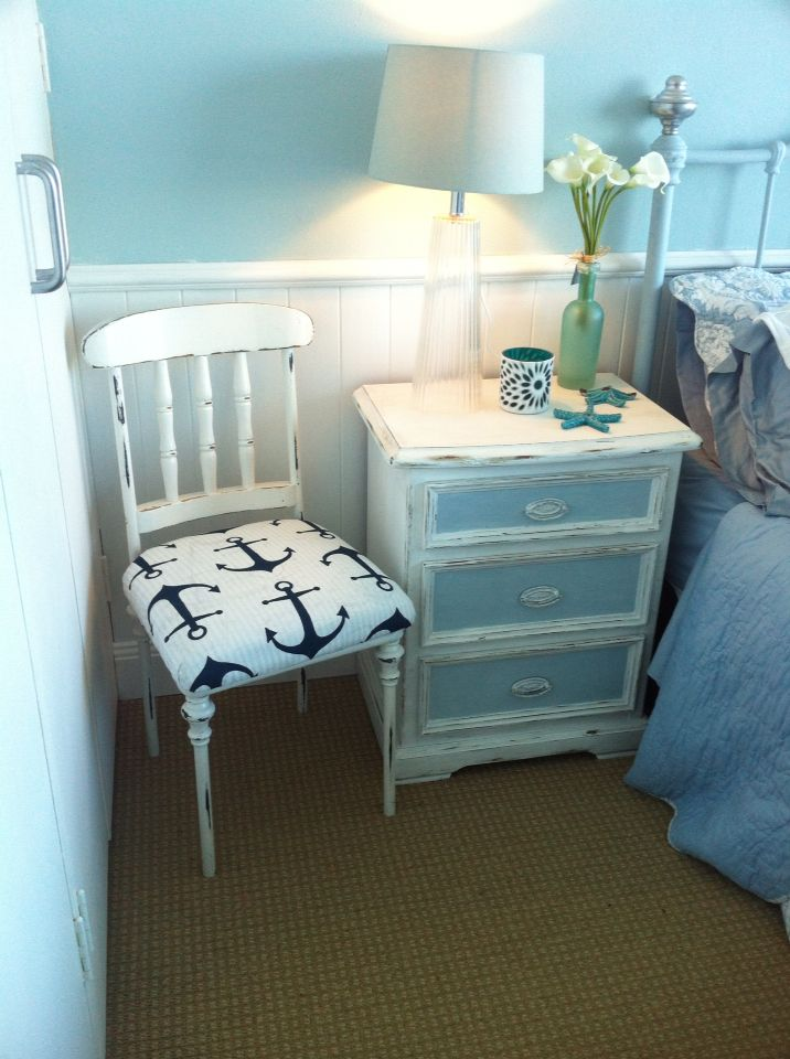 Reupholstered My Chair With Coastal Anchor Material Loving How Our Bedroom Is Coming Together Chalk Painted Bedroom Vintage Beach Living Room Chalk Furniture Our hamptons inspired living roomcoming