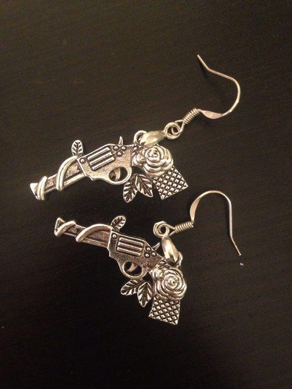 Gun and rose dangle earrings