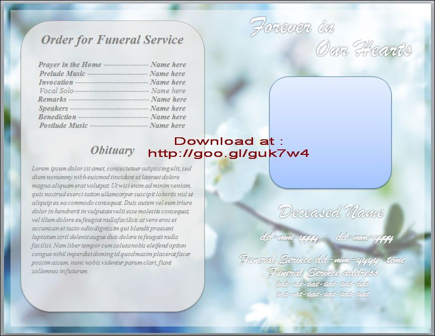 Pin by Sam Bither on Funeral Program Templates for MS Word to - booklet template microsoft word
