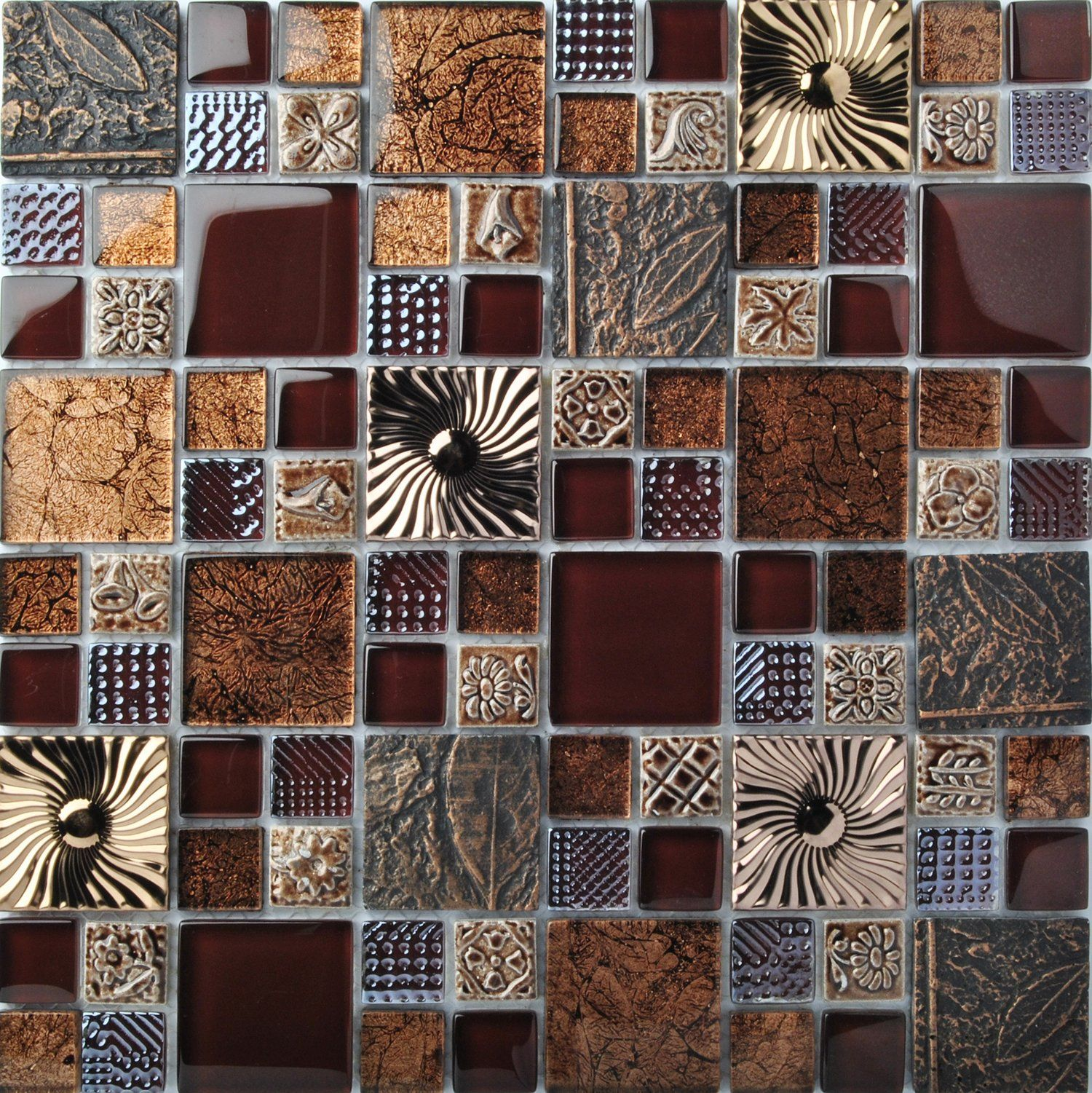 Kitchen Wall Decor Tiles Special Carving Mosaic Art Accent Tile Red Brown Color Glass Wall