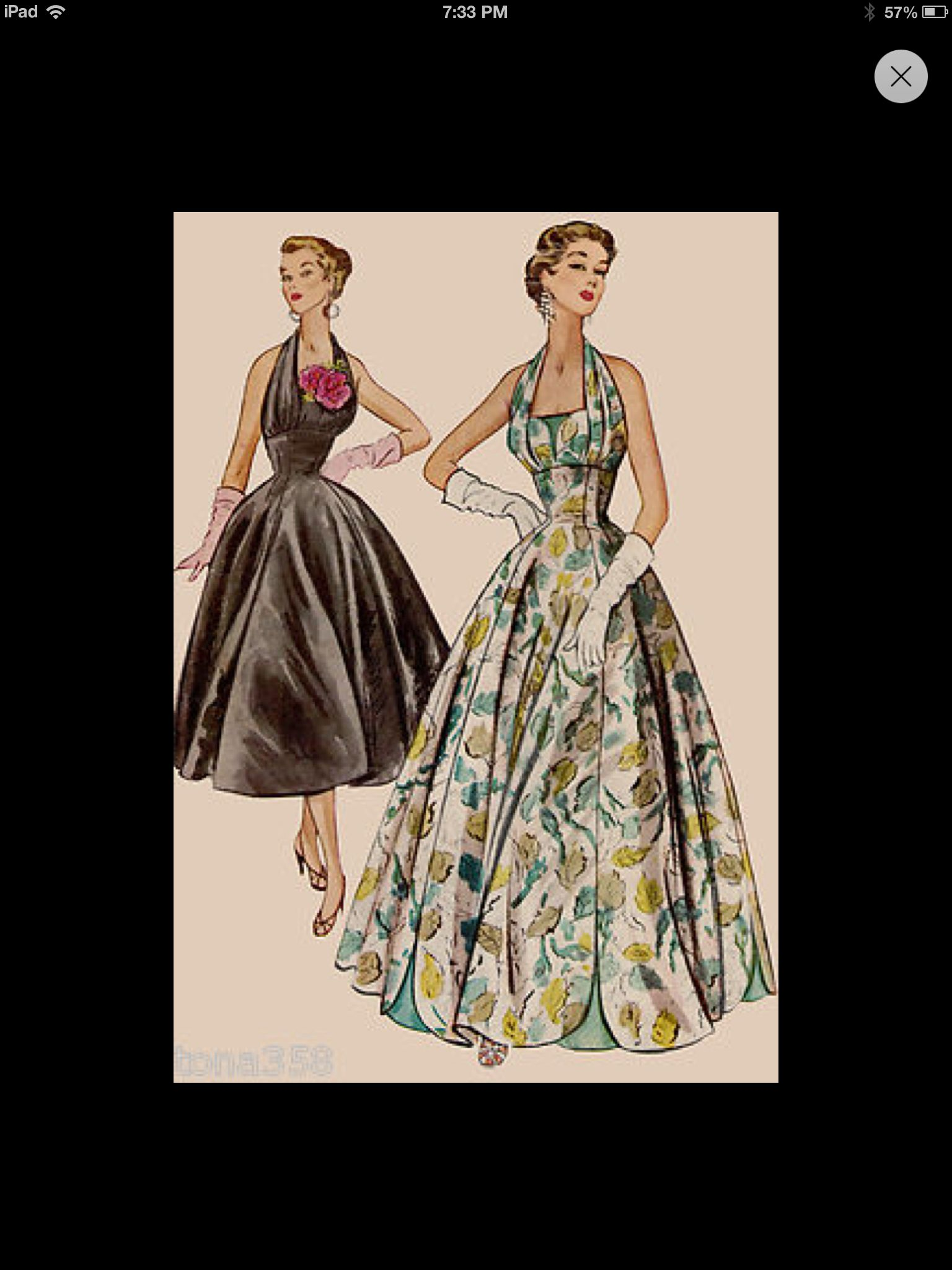 Rare vintage s vogue couturier halter neck evening gowndress