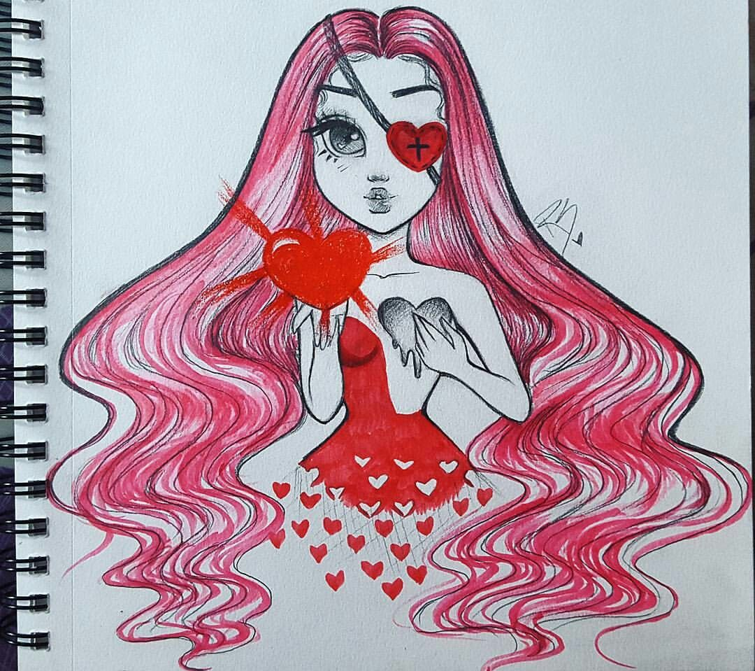 Heart Valentines Day Inspired Girl Drawing From Christina Lorre Christina Lorre Drawings Girl Drawing Sketches Drawings