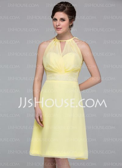 Bridesmaid Dresses - $99.99 - A-Line/Princess V-neck Knee-Length Chiffon Bridesmaid Dress With Ruffle Lace (007037163) http://jjshouse.com/A-Line-Princess-V-Neck-Knee-Length-Chiffon-Bridesmaid-Dress-With-Ruffle-Lace-007037163-g37163