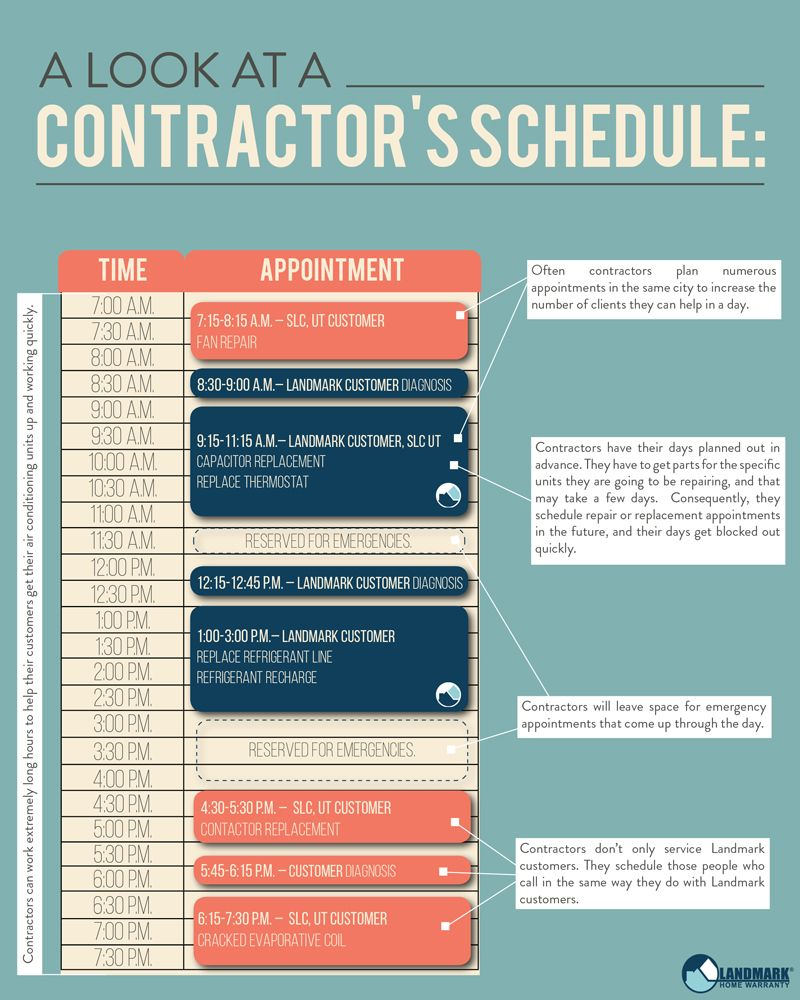 A Contractor S Schedule In The Summer Months Appointments Contractors Home Maintenance