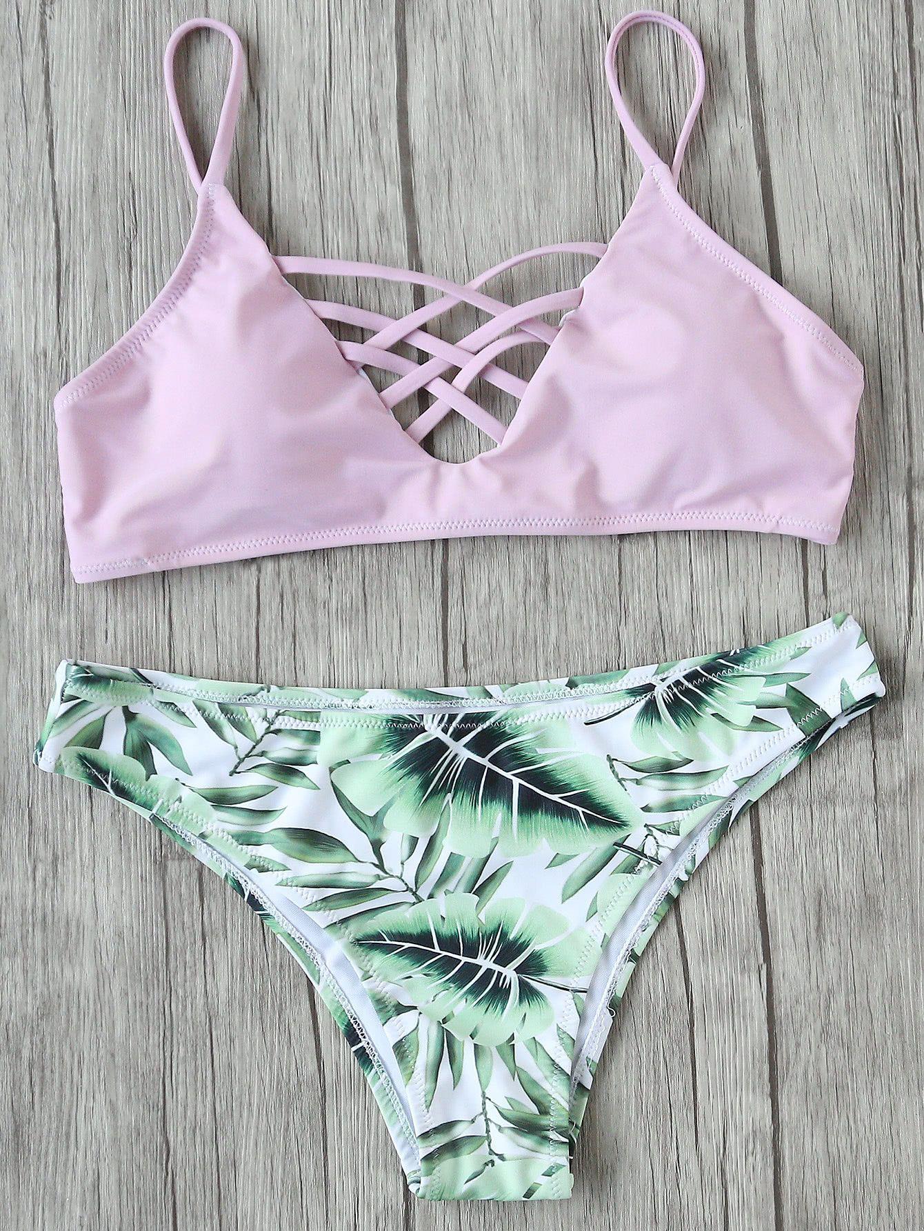 ¡Cómpralo ya!. Leaf Print Criss Cross Mix & Match Bikini Set. Green Pink Bikinis Casual Cute Vacation Push Up Polyester YES Print Swimwear. , bikini, bikini, biquini, conjuntosdebikinis, twopiece, bikini, bikini, bikini, bikini, bikinis. Bikini  de mujer   de SheIn.