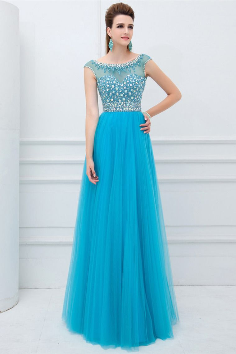 2014 Elegant Scoop Neckline Cap Sleeve Prom Dress Beaded Bodice With ...