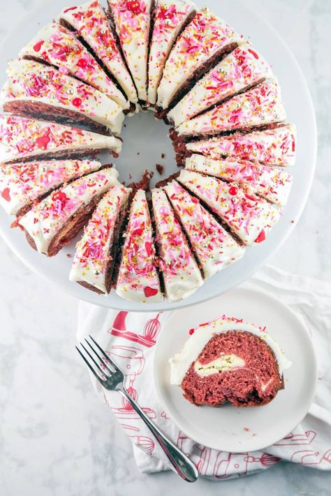 Red Velvet Bundt Cake: a traditional red velvet bundt cake with a cream cheese swirl, mixed in one bowl. Perfect for Valentine's Day - or any day! {Bunsen Burner Bakery}
