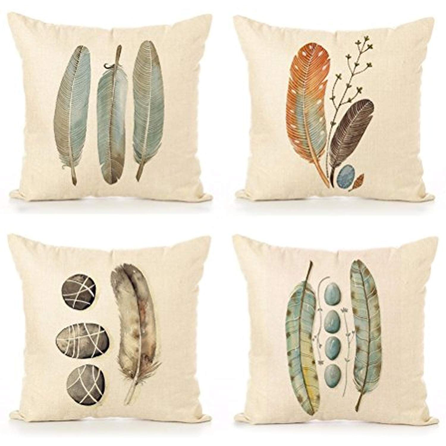 Cotton Linen Throw Pillow Case U Love Feathers Print Square Cushion Cover 18 X 18 Inch Pillow 4 Pack Y Throw Pillow Cases Linen Throw Pillow Throw Pillows