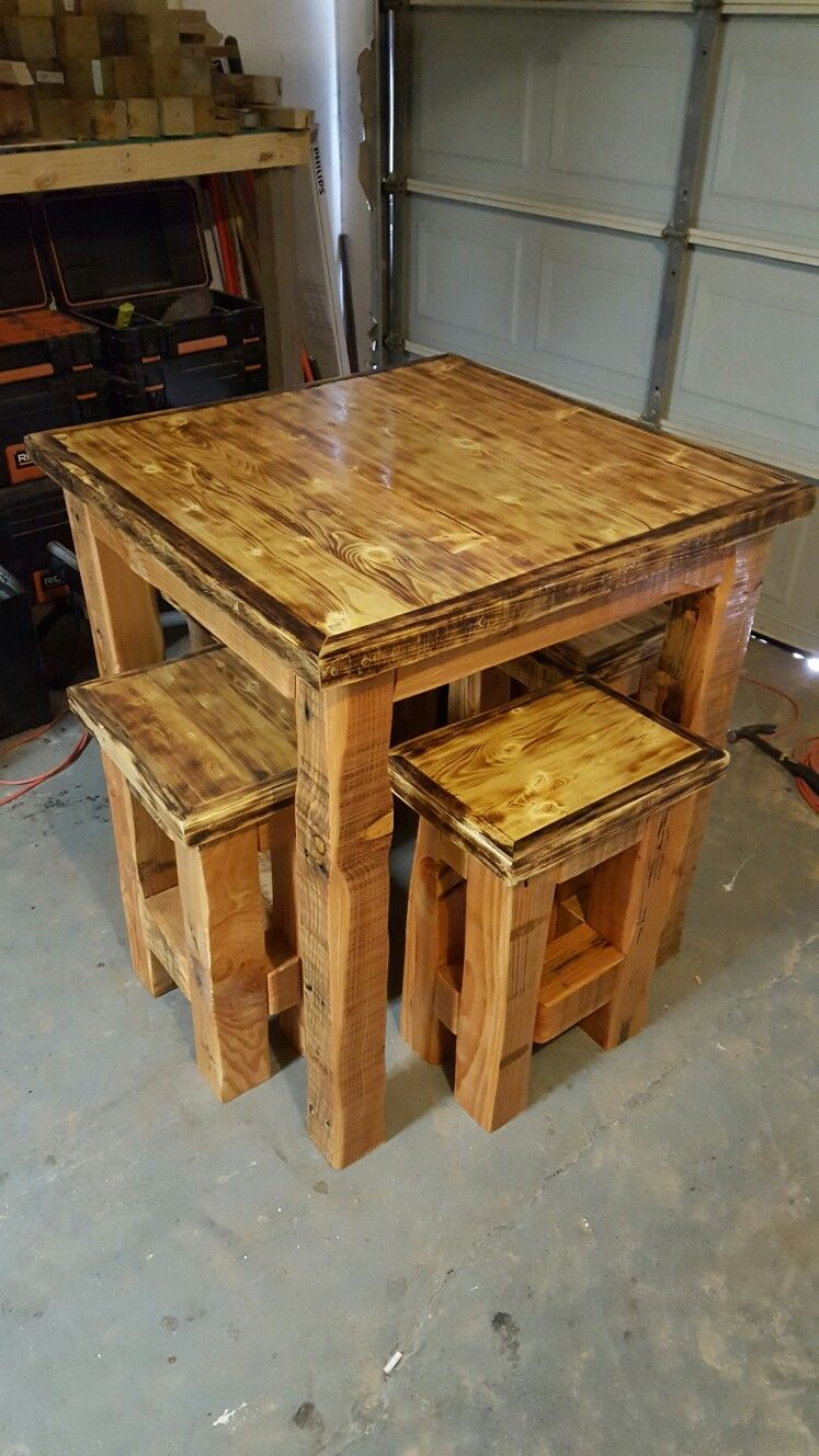 Custom Built High Top Table With Stools