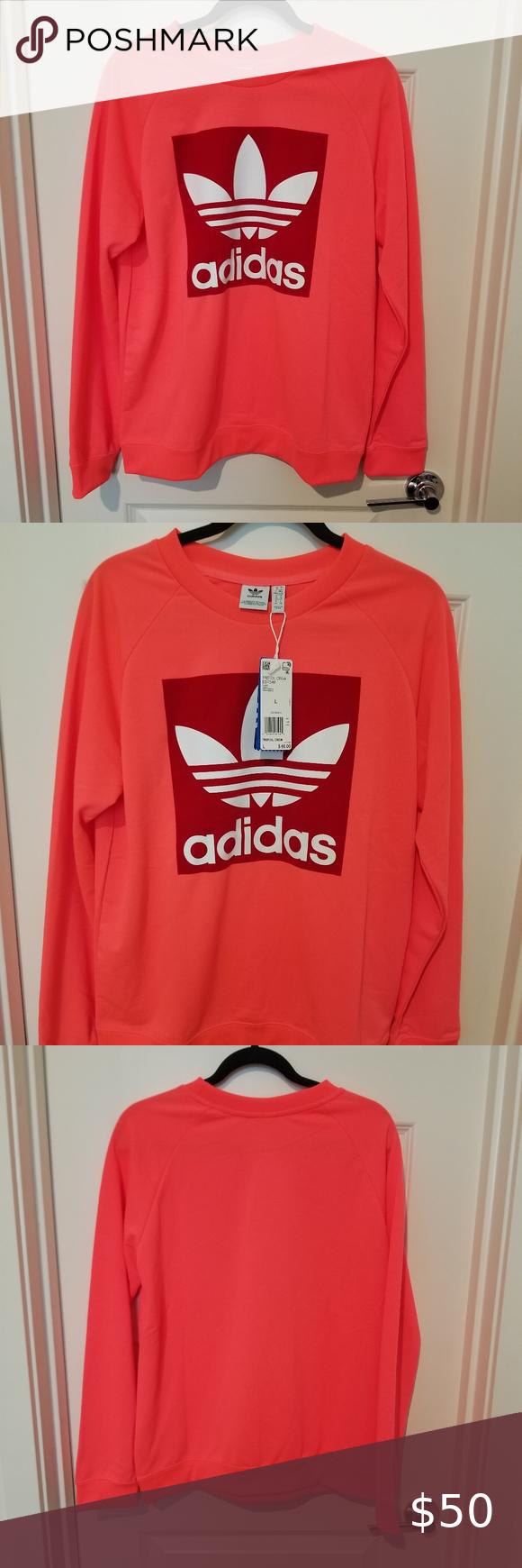 Adidas Trefoil Hot Neon Pink Sweatshirt Adidas Trefoil Crewneck Sweatshirt Hot Neon Pink With Red Velvet On The Fro Pink Sweatshirt Adidas Trefoil Sweatshirts [ 1740 x 580 Pixel ]