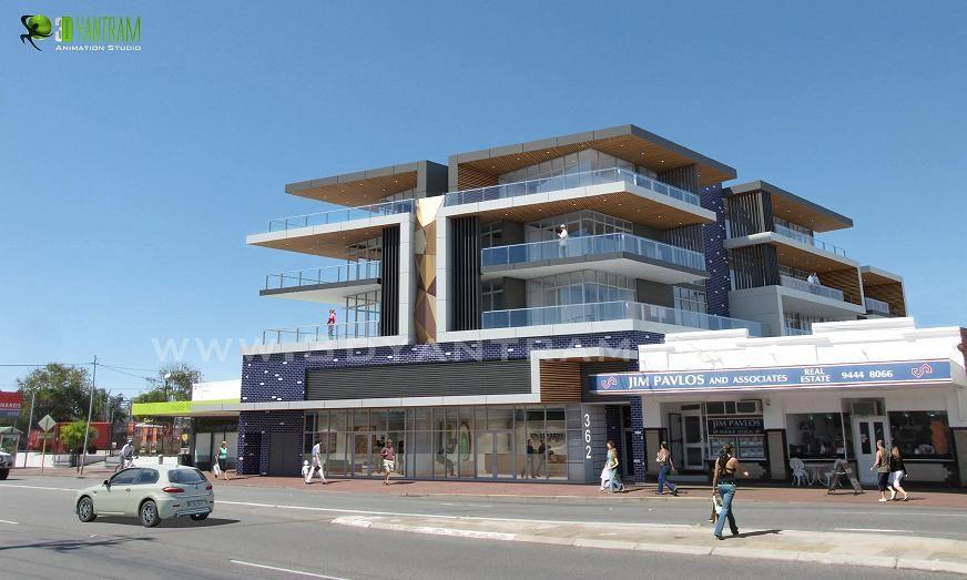 Front Elevation Commercial Complex : D commercial complex exterior design studio