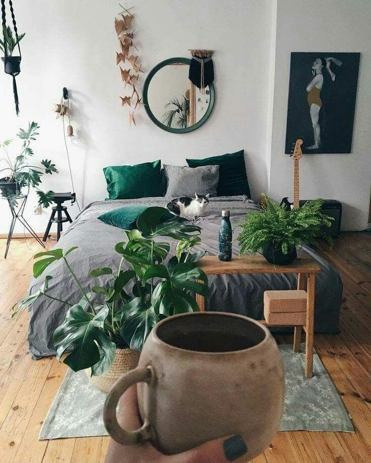 Bedroom interior design with plants