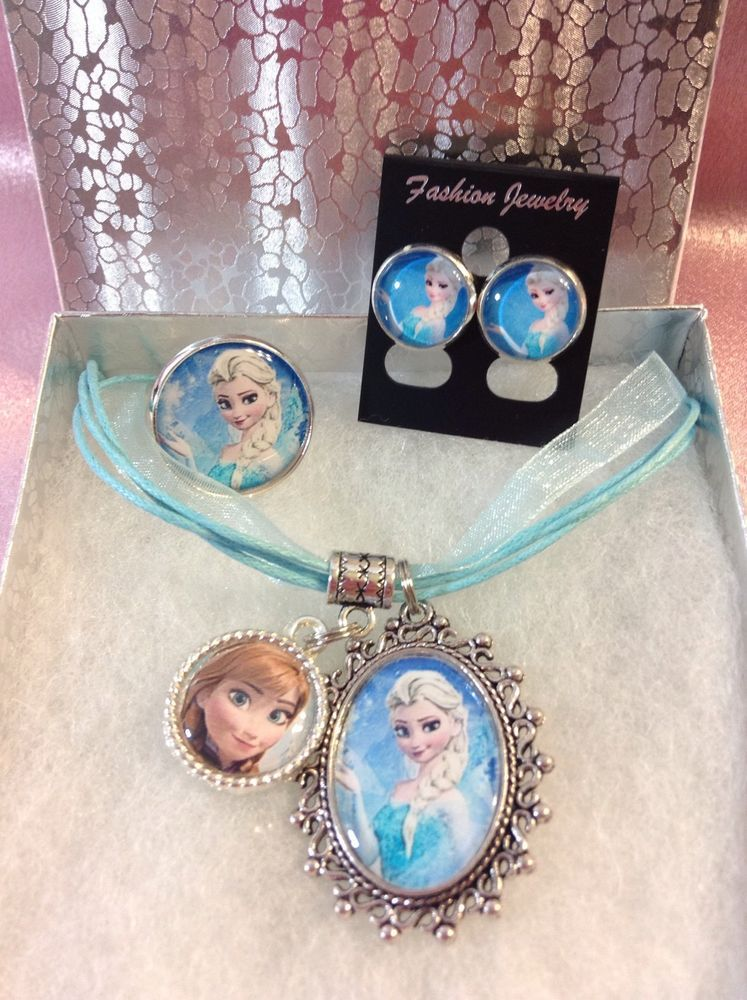 Disney's Frozen Elsa Necklace Ring Earrings with Anna Charm! #handmade