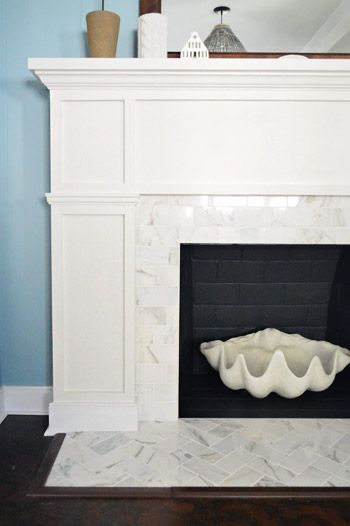 Our 200 Fireplace Makeover Marble Tile A New Mantel Home Fireplace Fireplace Makeover Farm House Living Room