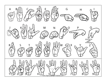 This Printable Features Outlines Of All Sign Language Letters A