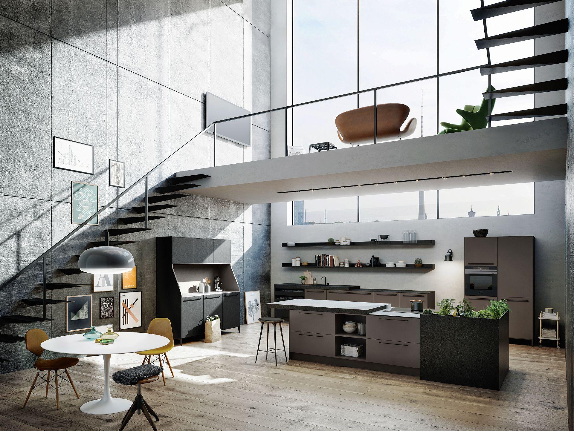 Blick auf SieMatic Urban SE Wohnküche in umbra mit Kücheninsel ...