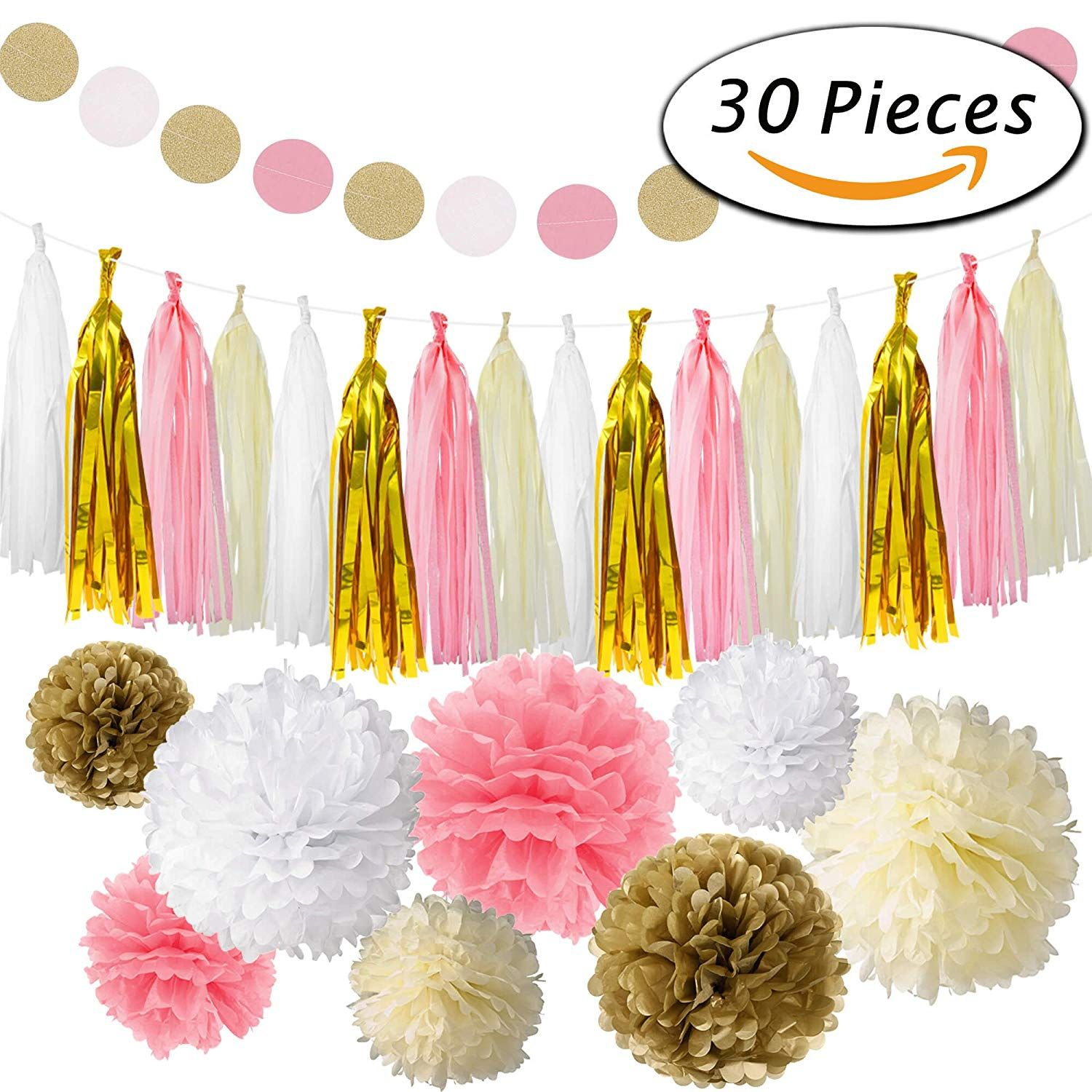 Paxcoo Pink and Gold Party Decorations with Tissue Pom Poms Paper Lanterns Tassel Garland for Birthday Baby Shower Girls 1st Party