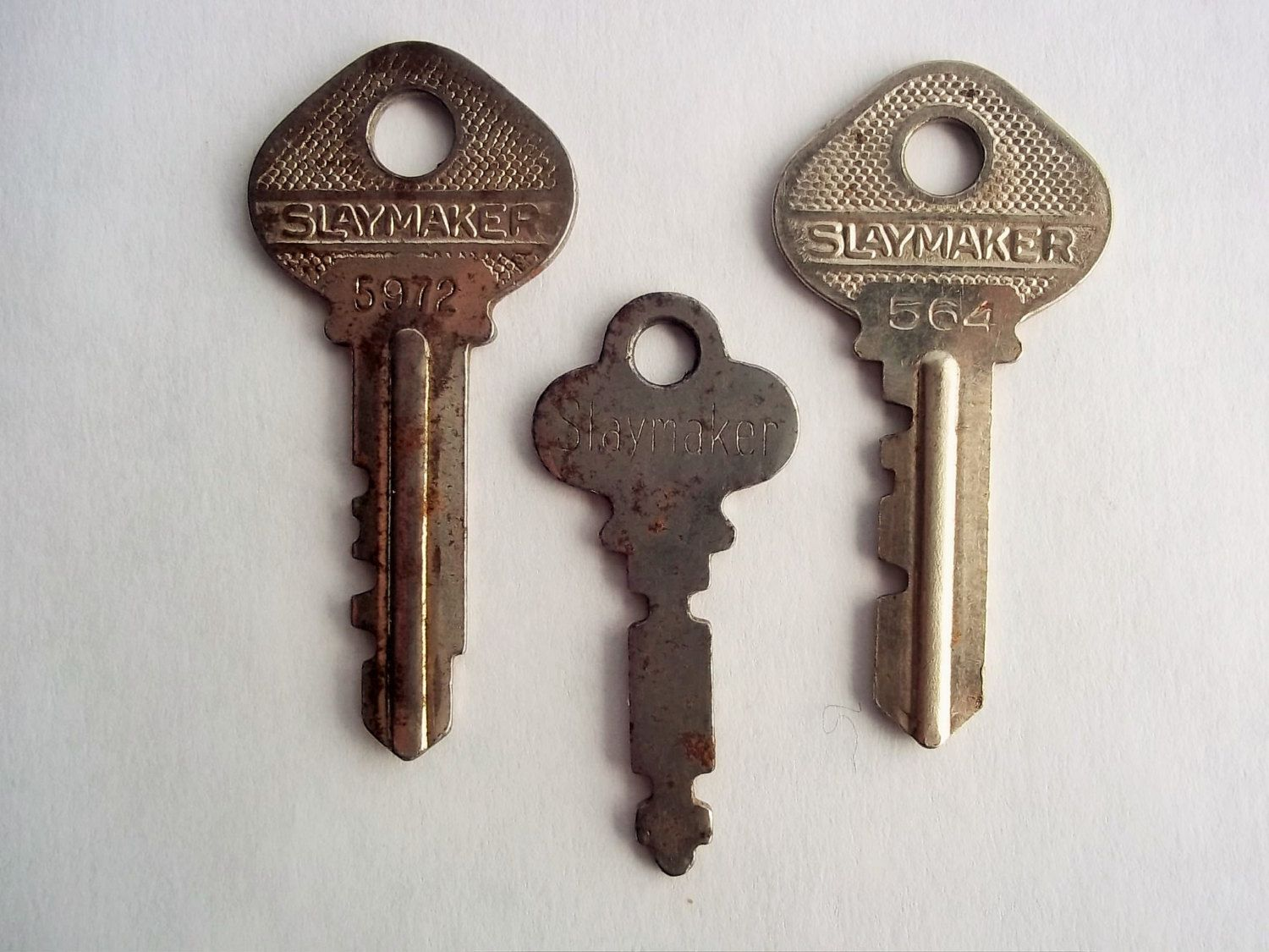 Three 3 Slaymaker Keys With Different Shapes Sizes Condition Vintage Keys Different Shapes Shapes