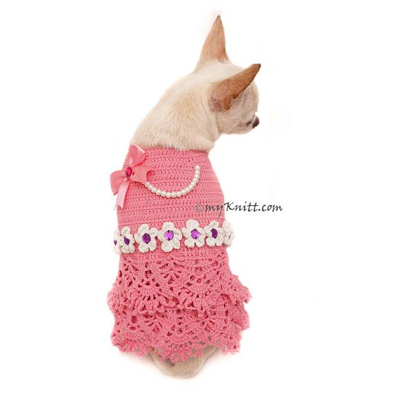 Pink Peach Girly Dog Dress with Ruffle Crochet, Peach Dog Dress Bow ...