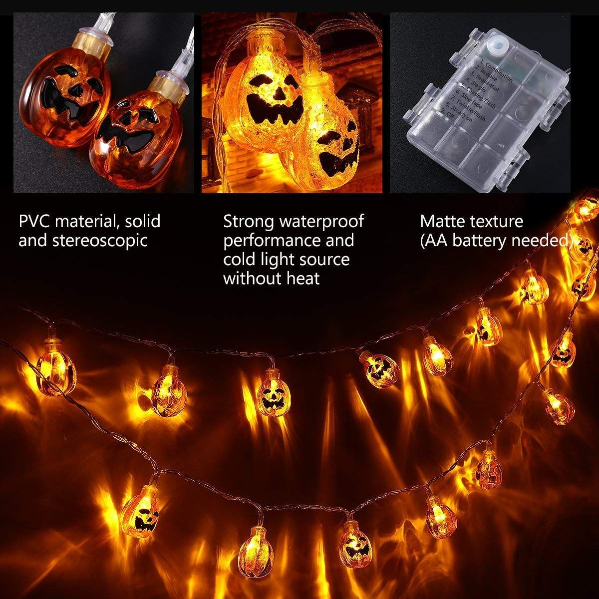 Led-lichterketten halloween kommt bist du bereit dein zuhause zu dekorieren pumpkin