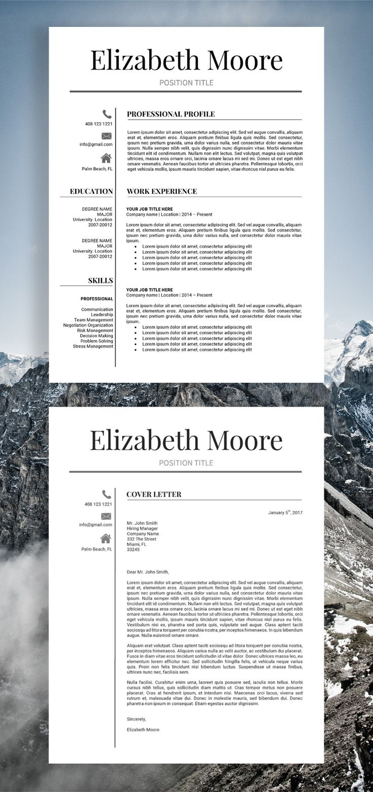 Resume Template Modern Resume Template Professional Resume