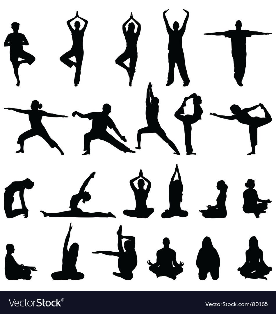 Yoga And Meditation Silhouettes Vector Image On Vectorstock Silhouette Vector Meditation Silhouette