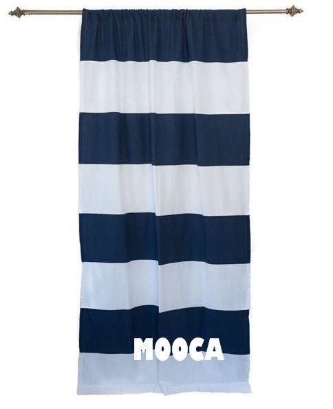 100 coton bleu marine et blanc bande horizontale panneau de rideau pour le salon rideaux. Black Bedroom Furniture Sets. Home Design Ideas