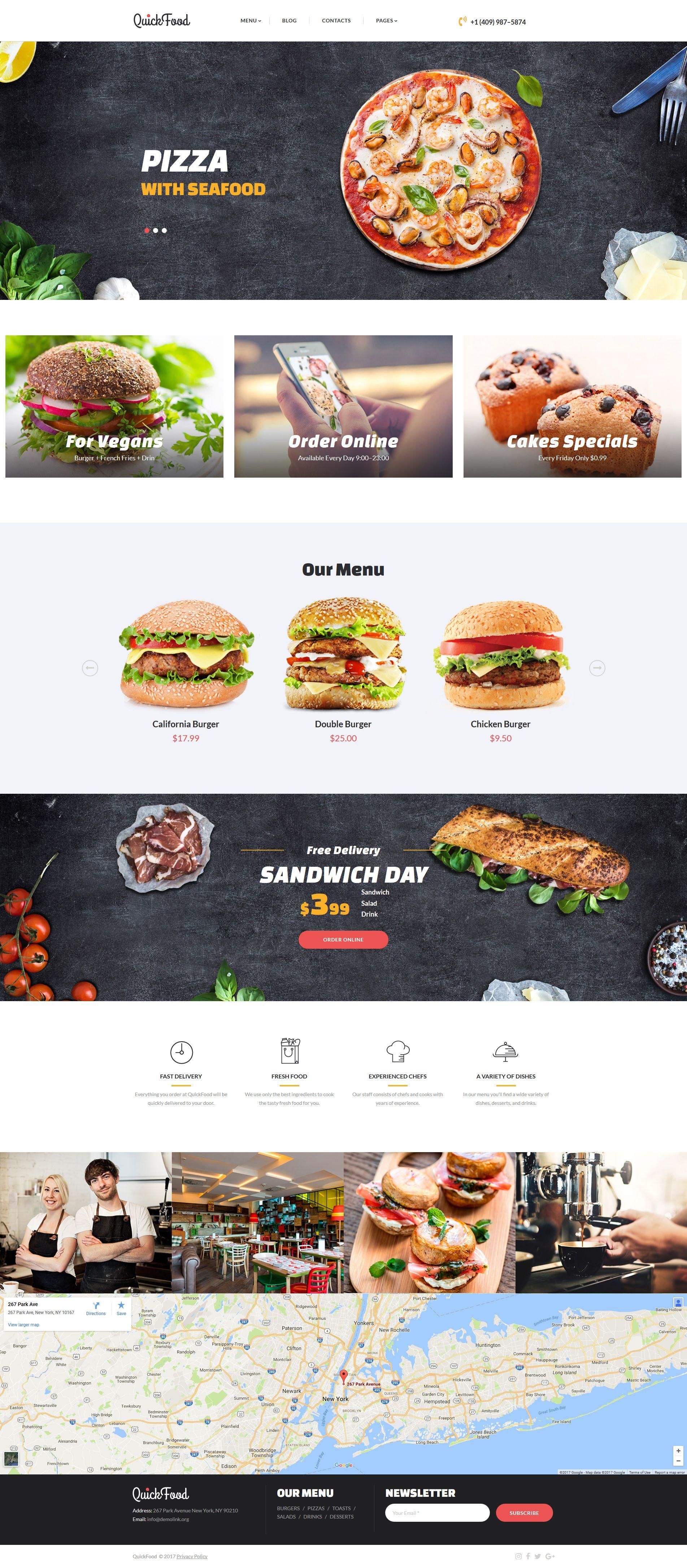 Fast Food Restaurant Responsive Moto CMS 3 Template 63701