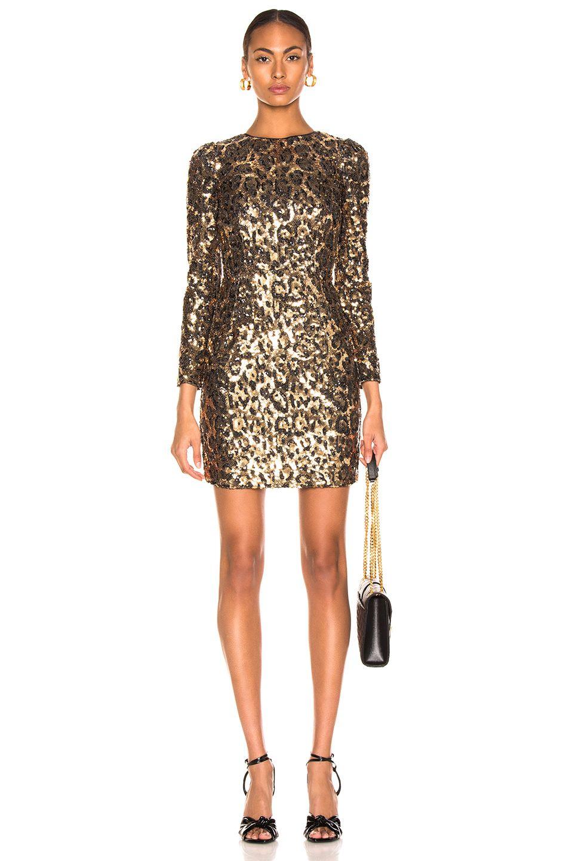 Dodo Bar Or Ida Dress.Image 1 Of Dolce Gabbana Leo Print Sequin Long Sleeve Dress In