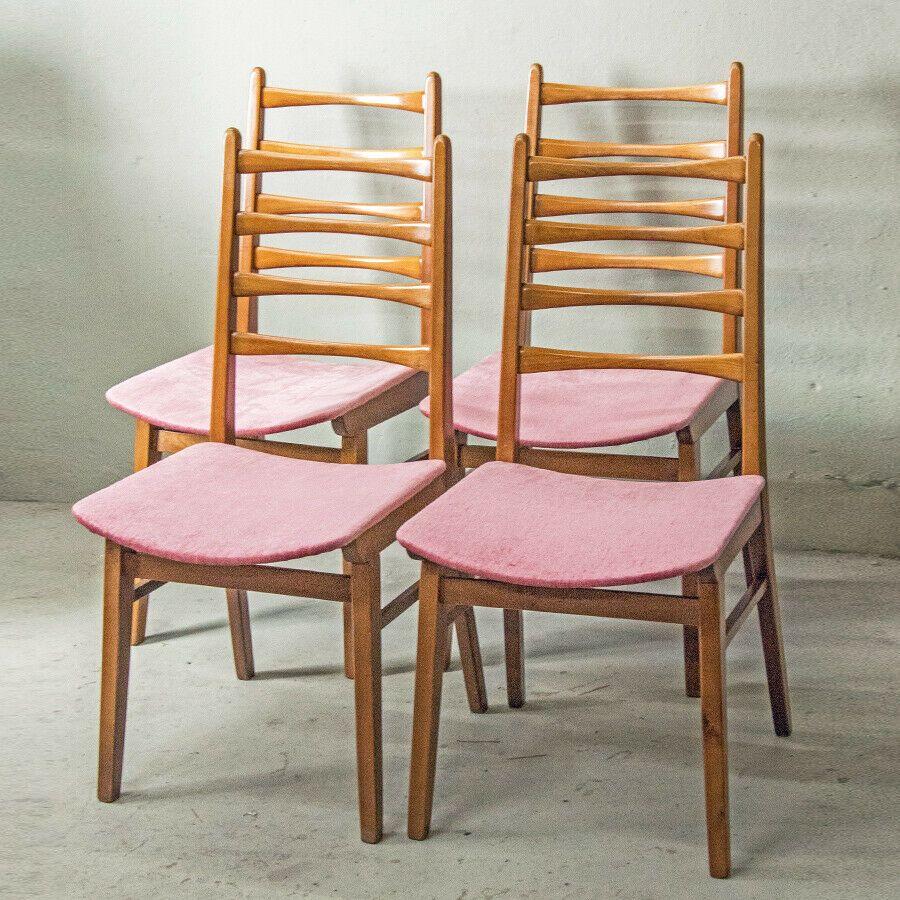 4er Set 70er Jahre Stuhle Esszimmerstuhle Stuhl Velours Rosa Space Age Esszimmerstuhle Stuhle Age