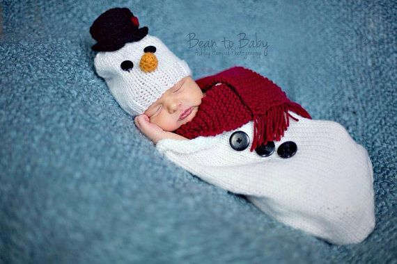 Newborn Baby Knit Snowman Hat And Cocoonbunting Bag With Scarf