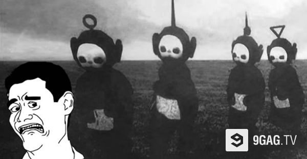 Joy Division And Teletubbies In Black And White Love The Music - Teletubbies in black and white is terrifying