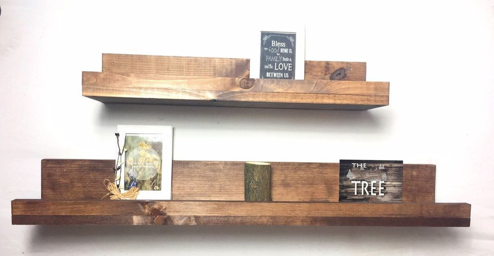 Floating Shelves With Lip Prepossessing Floating Lip Shelf Set Of 2 Wooden Rustic Farmhouse Bathroom Kitchen Design Ideas