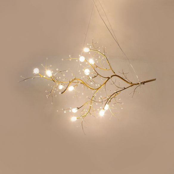 Branch Chandelier With Bulbs In 2020 Metal Hanging Lights Branch Chandelier Hanging Lights