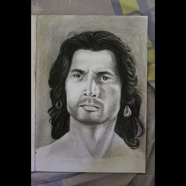 Portrait drawing of anga raj karn aka radheya charcoal on paper potrait