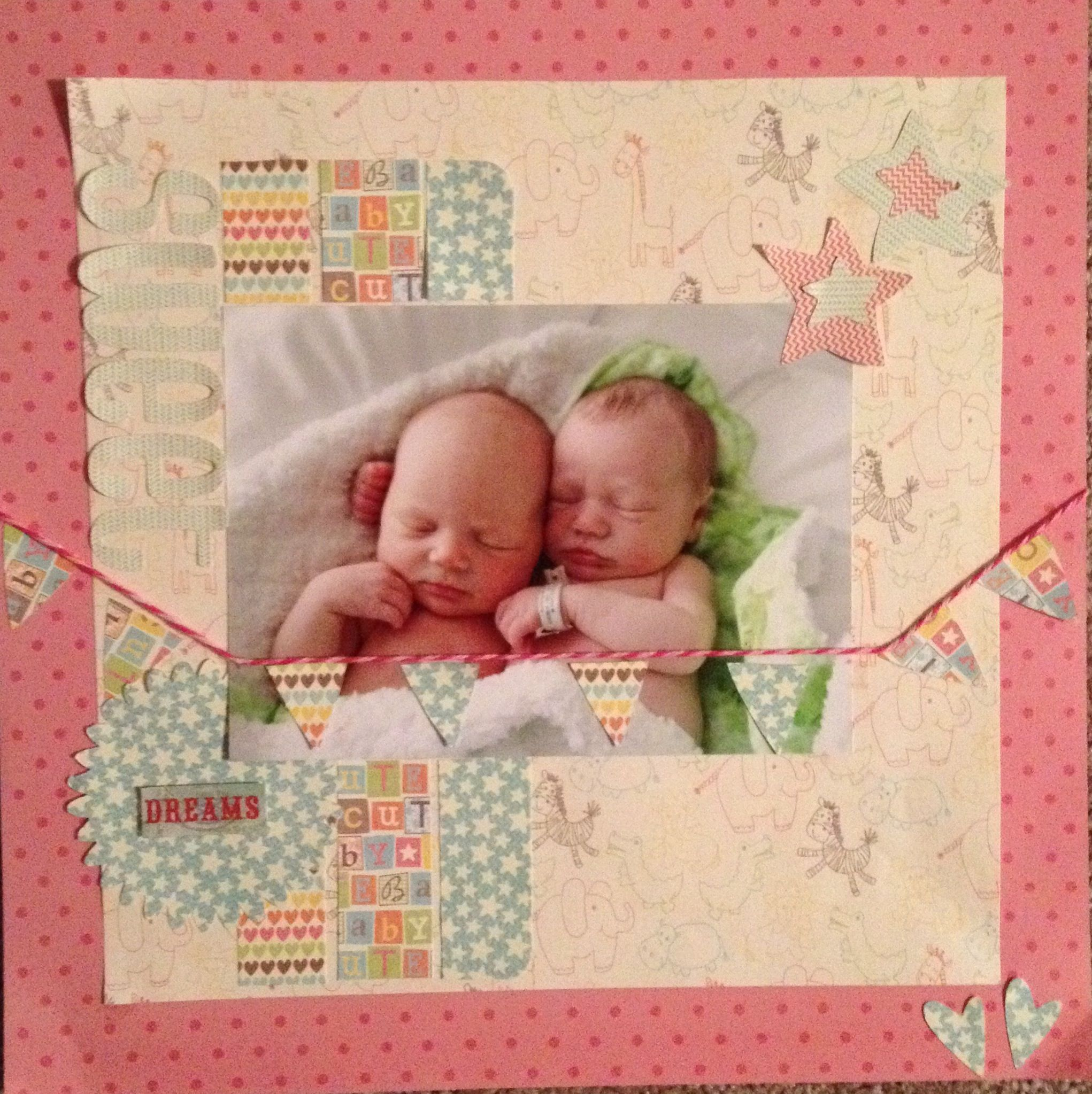 Scrapbook ideas for baby girl - Scrapbook Page Of Baby Twins