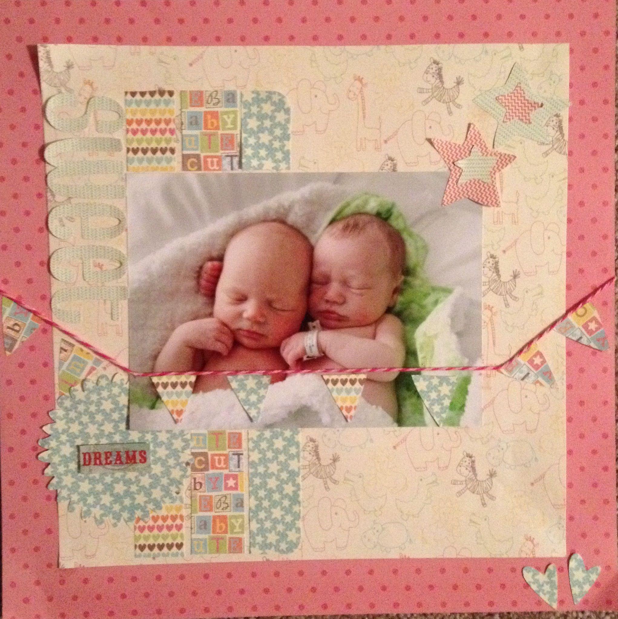 Baby girl scrapbook ideas - Scrapbook Page Of Baby Twins