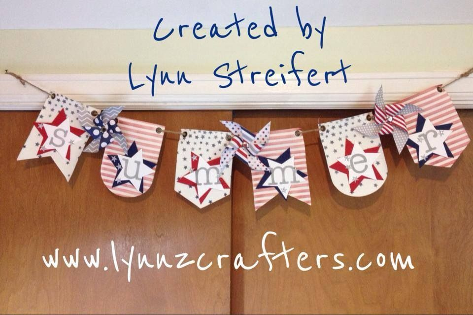 Patriotic Banner for summer! All Stampin' Up! supplies used, including: Build-a-Banner kit refills, new decorative masks, new star framelits, new itty bitty accents mini star punch, and June 2014 Paper Pumpkin Pinwheels.