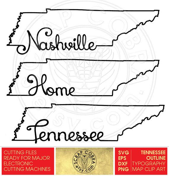 Tennessee Map Outline Typography Clipart SVG eps by ScrapCobra