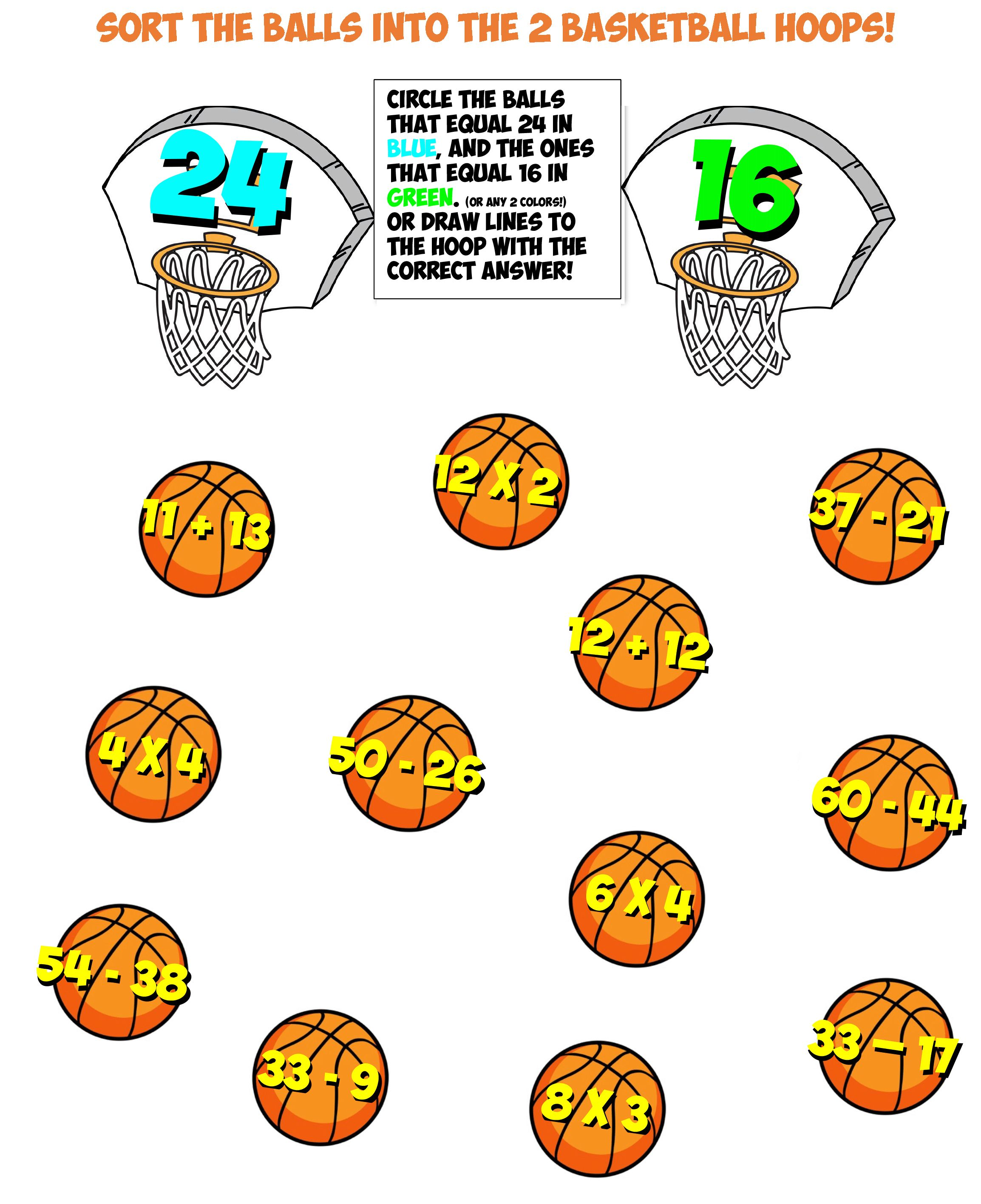 Basketball Math Worksheet 5 Free Free Math Basketball Math Free Math Worksheets